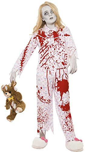 Blutige Zombie rosa Teddy bedruckter Schlafanzug gruselig Gespenstisch Halloween Kostüm Kleid Outfit 7-14 Jahre - Rosa, 12-14 years (Top 10 Zombie Kostüme)