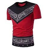 BURFLY KurzarmT-Shirt Herren, Herren Sommer Casual Fashion African Print O Hals Pullover Kurzarm T-Shirt Top Persönlichkeit Ethnic Print Kurzarm T-Shirt (2XL, Rot)