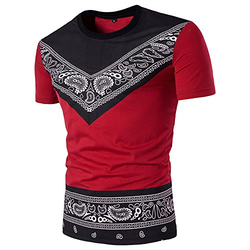 BURFLY KurzarmT-Shirt Herren, Herren Sommer Casual Fashion African Print O Hals Pullover Kurzarm T-Shirt Top Persönlichkeit Ethnic Print Kurzarm T-Shirt (S, Rot)