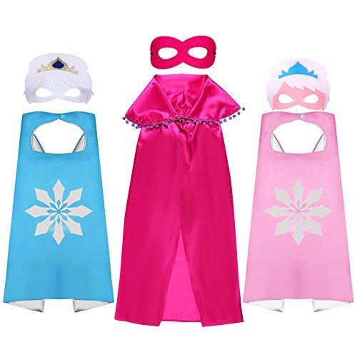 dchen Prinzessin Cape und Maske Mädchen Kostüm verkleiden sich Geburtstagsfeier Cape 3 Pack rosa blau rot für 4-6 Jahre (Mädchen Verkleiden Kostüme)