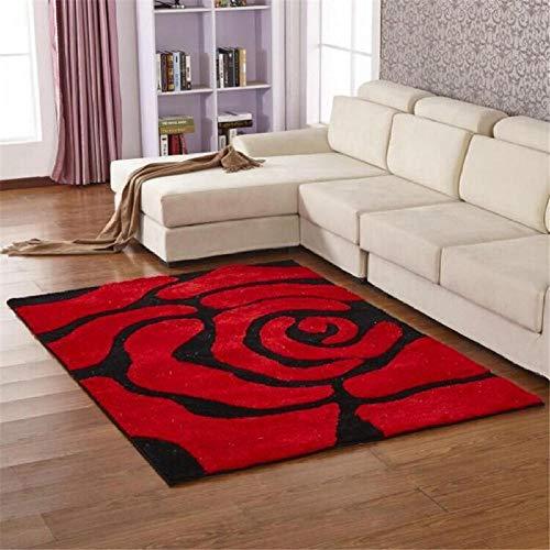 Moderne weiche seidige Shaggy teppiche matten schwarz rot Rose Design dicken Haufen Teppich 200x300 cm -