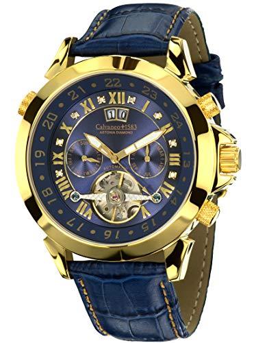 Calvaneo 1583Orologio da polso uomo astonia Diamond Gold Blue analogico automatico in pelle blu 107904