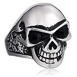 Epinki Acciaio Inossidabile Anello per Uomo Nero Cranio Zirconi Anello Vintage Gothic Biker Punk Rock Anello Taglia 20