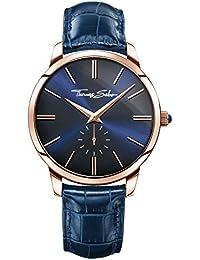 Thomas Sabo Herren-Armbanduhr ETERNAL REBEL Blue Rosé Analog Quarz Leder WA0212-270-209-42 mm