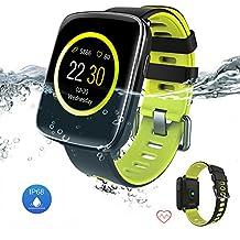 Reloj inteligente resistente al agua Bluetooth Fitness Tracker - Yarrashop Sport Touch Smartwatch Smartwatch Heart Rate y Sleep Monitor Fitness relojes Pulsera Bluetooth Llamada SMS Notificación Recor (Verde)