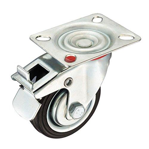 sourcingmap® 3-Zoll Gummi Rolle Rad mit Bremse, Schwenkplatte, 110 lbs. Belastung Kapazität DE de