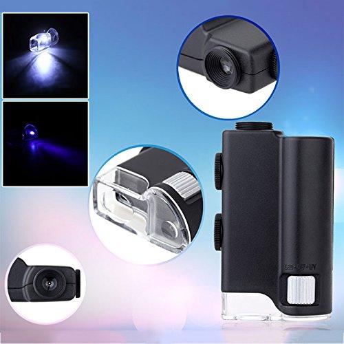 Hanbaili microscopio, ingrandimento 60-100x led illuminato illuminato lente d'ingrandimento portatile per gemme gioielli rocce francobolli monete orologi hobby modelli di antiquariato foto