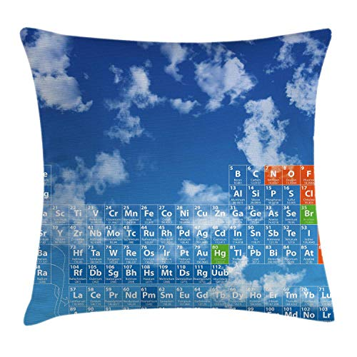 Cyan Smart Print (DPASIi Science Throw Pillow Cushion Cover, Clear Open Sky with Clouds and Chemistry Table Pattern Smart Student Print, Decorative Square Accent Pillow Case,White and Blue 18x18inch)