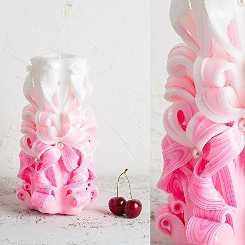 Rosa geschnitzte Kerze - Hochzeit Mittelstücke für Tische Dekoration - (Ideen Halloween Hausgemachte Dekorationen)