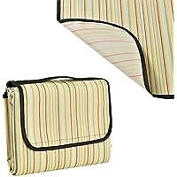 [casa.pro]® Manta de pícnic XXL - 200x190cm - mantel - parte inferior resistente al agua, con asa - amarilla de rayas