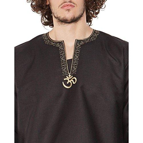 Traditionelle Indische Kleidung Männer Shirt Bestickt Kurta Luftig Bequem Om Schwarz