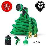 JJTGS Garden Hose - 25 Feet Set Green, Expandable Water Hose, Expandable Lightweight