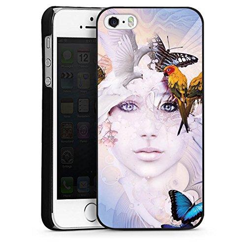 Apple iPhone 4 Housse Étui Silicone Coque Protection Oiseaux Femme Femme CasDur noir