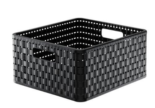 Rotho 1116808080 Aufbewahrungskiste Dekobox Country in Rattan-Optik aus Kunststoff (PP), quadratisch, Inhalt ca. 14 l, ca. 32.8 x 30 x 16 cm (LxBxH), schwarz (Quadratische Aufbewahrungsbox)