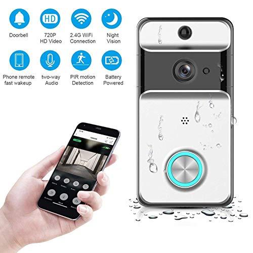 KUKUDIJIE Wasserdicht Video Türklingel Kabellos Doorbell 720P HD Überwachungskamera Echtzeit-Zweiwege-Audio Nachtsicht PIR-Bewegungserkennung App-Steuerung -