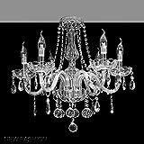 A1A9 Marie Therese Kristall-Kronleuchter, moderne Klarglas K9 Kristall 6 Arme Deckenleuchte LED Kronleuchter Beleuchtung für Wohnzimmer, Schlafzimmer, Esszimmer, Flur, Treppenhaus, Größe: D58cm H53cm