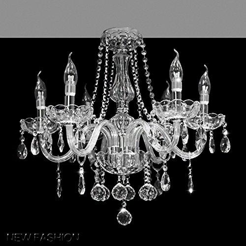 DST Maria Theresa Lustre en verre transparent K9 à 6 bras, gouttes à LED, pour salon, salle à manger, couloir, escalier, dimensions : 58 (D) x 53 (H) cm.