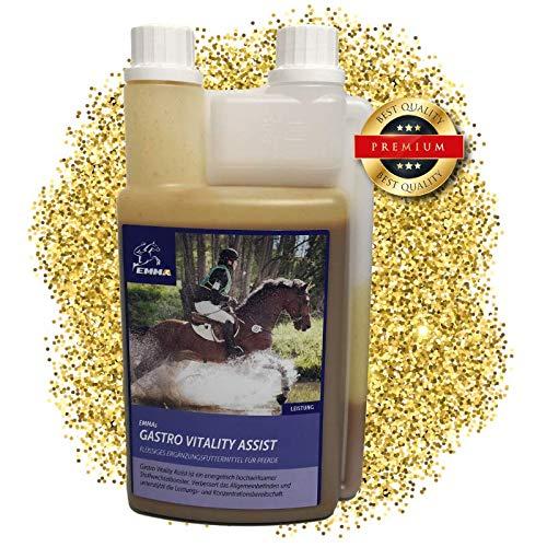 EMMA Gastro Liquid fürs Pferd I Zusatzfutter mit Bierhefe I prebiotisch I intakte Darmflora I Vitamin-Booster für Energie Plus B-Vitaminen, C, E, Biotin, Kalzium, Folsäure, Zink 1 L