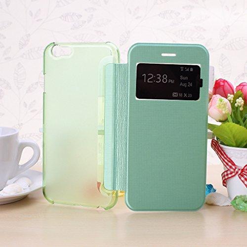Wkae® iPhone 6S (4,7 pouces) Housse - Nouveau complexe Fen¨ºtre Vue flip Housse Folio pour iPhone 6(ne rentre pas dans l'iPhone 6 Plus de 5,5 pouces, l'iPhone 5 5S 5C 4 4S) (Rose) Vert