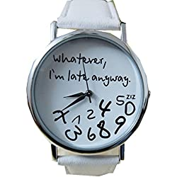 WINWINTOM Women's Whatever I am Late Anyway Letter Leather Watches-White