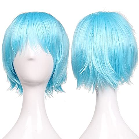 S-noilite UK Unisex Short Full Haed Wigs Cosplay Party Fancy Daily Dress Syntheic Light Blue by S-noilite