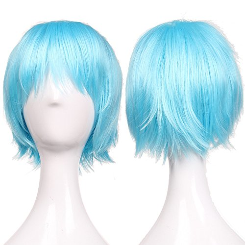 S-noilite UK Unisex Short Full Haed Wigs Cosplay Party Fancy Daily Dress Syntheic Light Blue by (Blue Perücke Light)