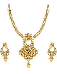 Aadita Traditional Ethnic Pearl Studded Bridal Necklace Set With Earrings For Women And Girls