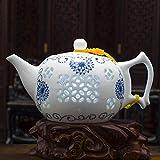 Pottery Teapot, Single Pot, Blue and White, Exquisite Porcelain, Rice Pot, Big Empty Yard, Big Yard Teapot, Home Flower Tea Pot, Jingdezhen,Small Pot 240ML