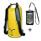 HAWK OUTDOORS Dry Bag - Wasserdichter Packsack gepolsterte Schulter-Gurte inklusive Wasserdichter Handy-Hülle - 30L/20L
