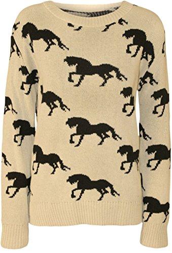 Nouveaux Mesdames Cheval Imprimer Winter Knit Wear Sweat Jumper Tops 36-42 Beige