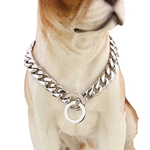 GZMZC 10/12/15/17/19mm Stark 316L Edelstahl kubanischen Stil Link Kette Hund Choker Halsband 30,5-91,4cm, 26