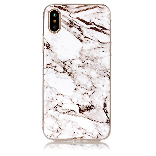 iPhone X Hülle, Voguecase Silikon Schutzhülle / Case / Cover / Hülle / TPU Gel Skin für Apple iPhone X(Marmor/Teppich) + Gratis Universal Eingabestift Marmor Serie - Weiß