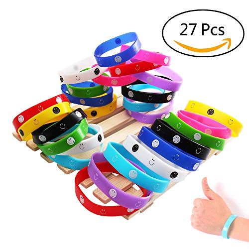 (YueChen 27xEmoji Rubber Armbänder, Lächeln Emoticon Silikon Armbänder, Armbänder Party Tasche Spielzeug, lustige Kinder 27 Pack in 9 Designs)