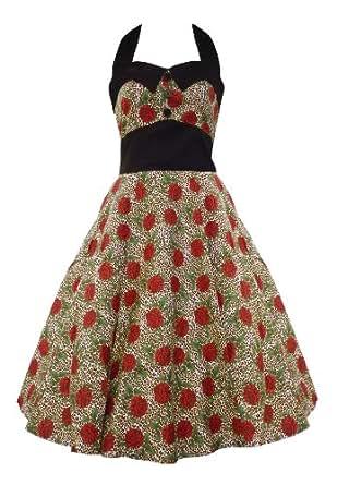 Hell Bunny Charlie 50's Dress Rose & Leopard Print - UK 20 (4XL)