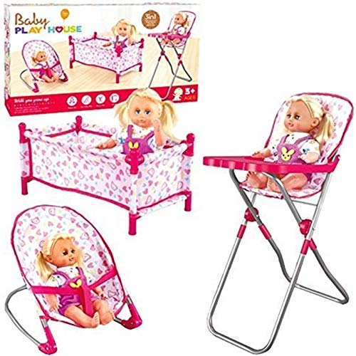 Rexco Childrens Kids Deluxe 3 in 1 Baby Dolls Folding for sale  Delivered anywhere in UK