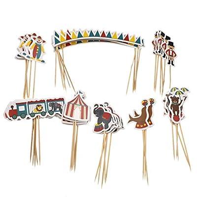 Kesheng 48pcs Toppers Cirque Thème Eléphant Clown Lion Marin Tente Banderole Cupcake Gâteau Décoration Accessoire