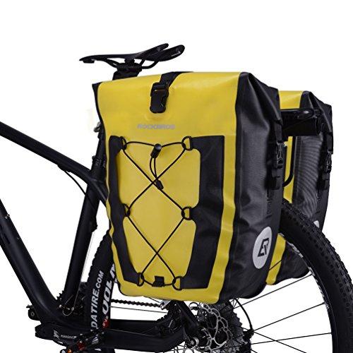 RockBros Fahrrad Gepäckträgertaschen Transporttaschen Völlig Wasserfeste Mit Netztasche Kapazität 27L*2 Ein Paar Gelb*2
