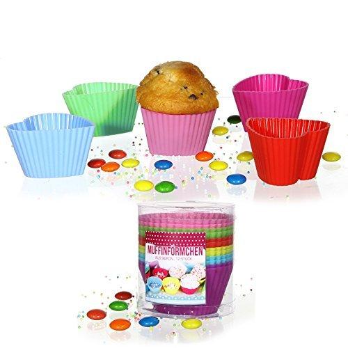 12 Stück Silikonform (Herz) Muffinform Muffinförmchen Backform Kuchenform für Muffins, Brownies, Cupcakes, Kuchen, Eis, Pudding