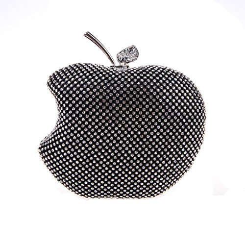 Bonjanvye apple shape purse brand bags for girls handmade clutches black