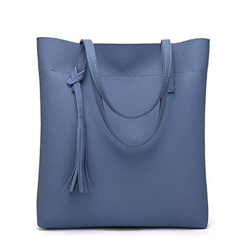 TianWlio Frauen Handtasche Umhängetasche Schultertasche Quaste Bucket Bag Mode Handtaschen Blau