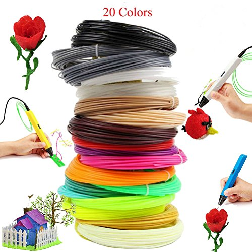 UEETEK 3D impresión pluma filamento recargas Pack 328 lineal 1,75 mm ABS filamento plástico 20 Colors(Random color)
