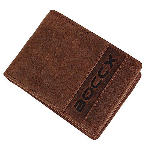 BOCCX sportliche Vintage-Leder Herren Geldbörse Portemonnaie kleiner Geldbeutel mit 8 Kreditkartenfächern Minibörse 40022 (Geldbörse Herren Rindleder)