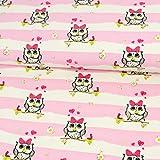 Baumwolljersey Eulen & Streifen dunkel rosa weiß