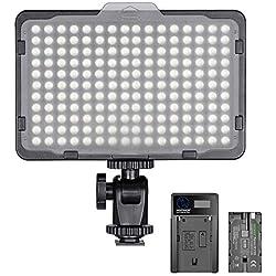 Neewer 176 LED Lumière Réglable 5600K sur Caméra avec Batterie 2600mAh et USB Chargeur pour Canon, Nikon, Pentax, Panasonic, Sony et Autres DSLR pour Photographie