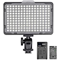 Neewer Dimmable 176 LED Video Light 5600K on Camera Light Panel with 2600mAh Battery and USB Charger for Canon, Nikon, Pentax, Panasonic, Sony, and Other Digital SLR Cameras for Photography
