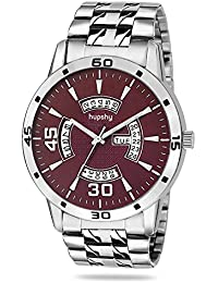 Hupshy® Analog Round Dial Men's Watch / Trendy Men's Watches / Watches For Men (Brown-Silver)