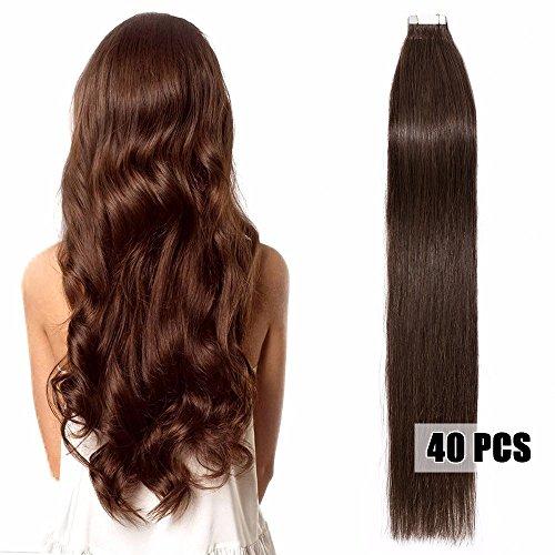 40 Extensions Adhesives Cheveux Naturels Bande Adhésive - Tape in Remy Human Hair Extensions - 40 Pièces/100g Pour Toute la Tête (40cm, #04 Marron chocolat)