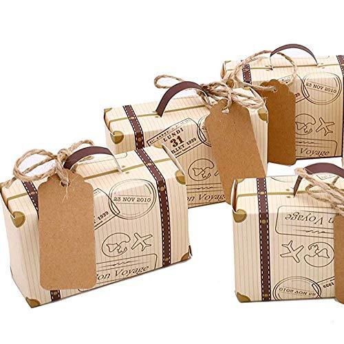 SODIAL 50 Piezas Mini Maleta Caja De Favores Favor De Fiesta Caja De Caramelo,Papel Kraft Vintage?con Etiquetas Y Cuerda para La Boda/Viaje Temático Fiesta/Nupcial Ducha Decoración