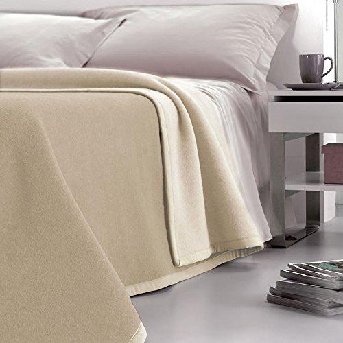 Coperta pura lana singola dobleface velotti double beige