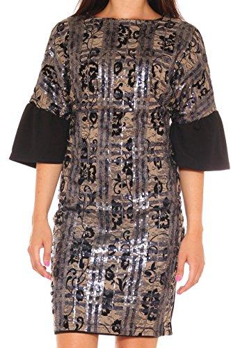 Vestito tubino slim fit elegante in pizzo decorato con paiettes Beige